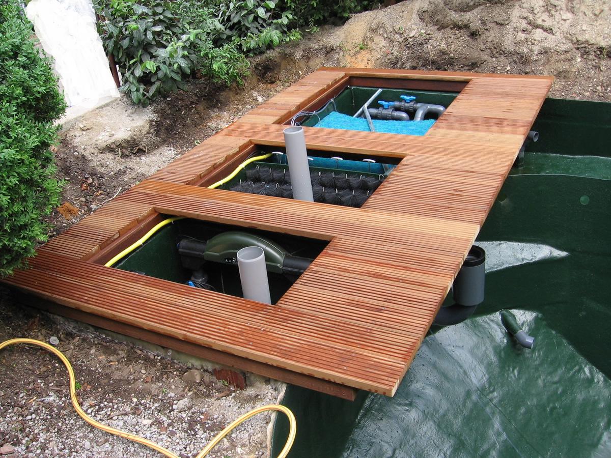 Teich und pool filterung filteranlagen pumpen skimmer beleuchtung von teichbau moseler - Pool rechteckig mit pumpe ...